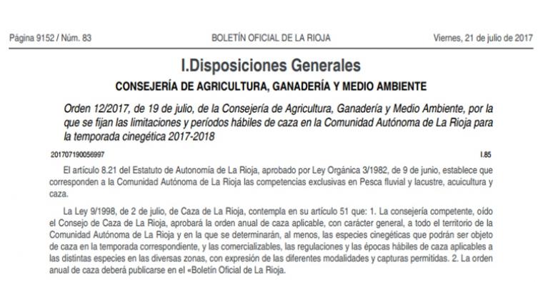 <h2 class='tahoma bold texto20 c_c0202e'><a href='http://www.frdcaza.org/noticia/120/Limitaciones-periodos-habiles-caza-Rioja-2017-2018' class='c_c0202e'>Limitaciones y períodos hábiles de caza en La Rioja 2017-2018</a></h2><p class='tahoma c_454545 texto12 margin0'>Orden 12/2017, de 19 de julio, de la Consejería de Agricultura, Ganadería y Medio Ambiente, por la que se fijan las limitaciones y períodos hábiles de caza en la Comunidad Autónoma de La Rioja para la temporada cinegética 2017-2018</p><a href='http://www.frdcaza.org/noticia/120/Limitaciones-periodos-habiles-caza-Rioja-2017-2018' class='tahoma c_454545 texto12'>Seguir leyendo></a>