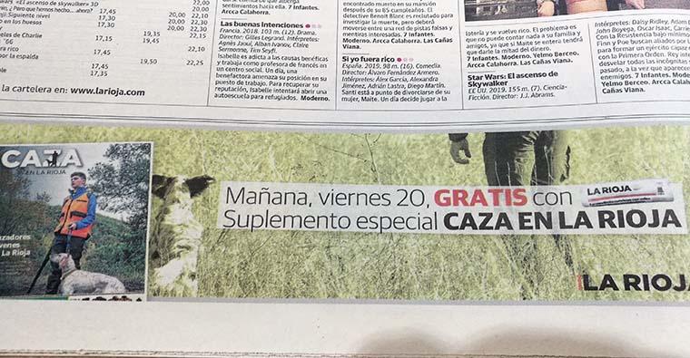 <h2 class='tahoma bold texto20 c_c0202e'><a href='https://www.frdcaza.org/noticia/348/NOTICIAS-DE-CAZA' class='c_c0202e'>NOTICIAS DE CAZA</a></h2><p class='tahoma c_454545 texto12 margin0'>Mañana día 20 saldrá en el periódico La Rioja un suplemento dedicado a la caza en nuestra Comunidad Autónoma.<br /> Sin duda podrás informarte de temas actuales e interesantes para todos nosotros.</p><a href='https://www.frdcaza.org/noticia/348/NOTICIAS-DE-CAZA' class='tahoma c_454545 texto12'>Seguir leyendo></a>